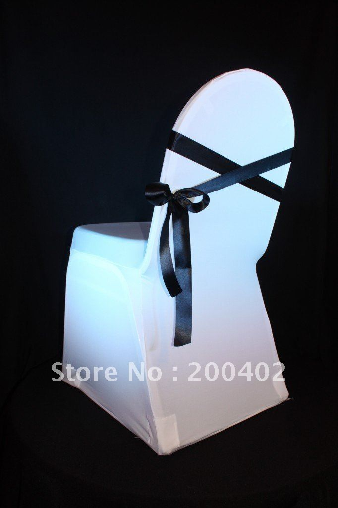 Free Shipping White Spandex Chair Cover With One Black Ribbon Sash For Deoraction Lycra