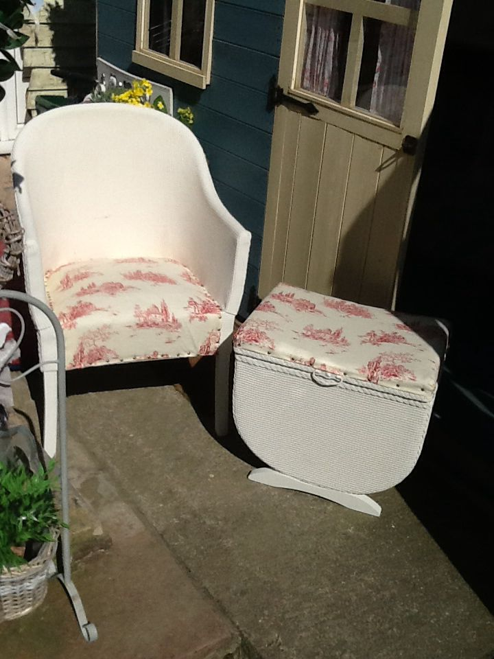 My Upcycled Lloyd Loom chair set used in my garden x