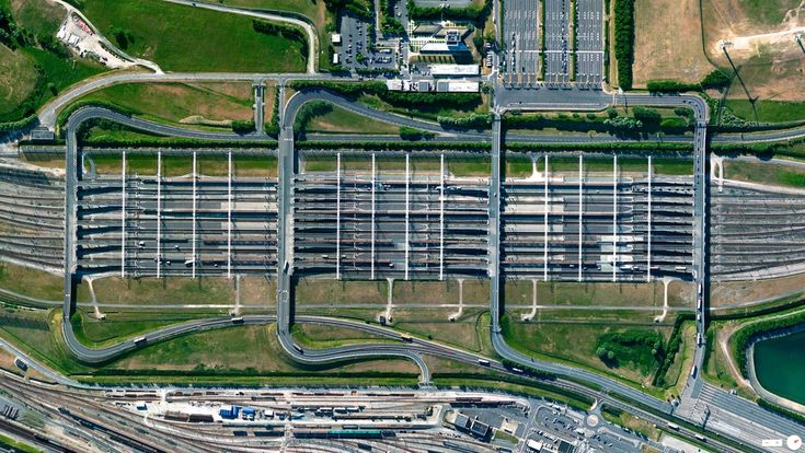 Car loading ramps for the Eurotunnel train shuttle at the entrance to the Channel Tunnel in Coquelles, France.