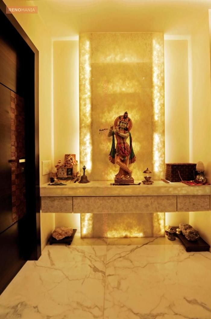 Pooja Room Design Ideas Part - 33: White Marble Flooring In Pujaroom