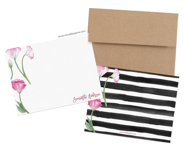 Pink Floral Watercolor Personalized Stationery Note Card - Boxed Set of 25