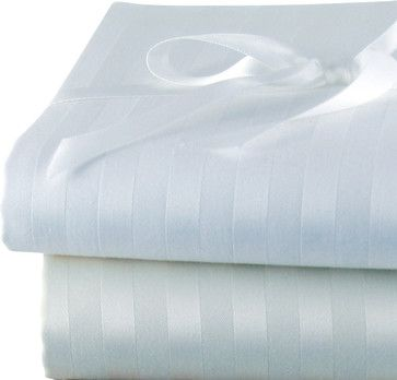 Via Frattina Italian Stripe Pillow Cases, King, Ivory - traditional - Pillowcases And Shams - Luxor Linens