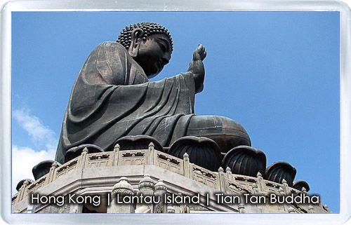 Acrylic Fridge Magnet: Hong Kong. Tian Tan Buddha. Lantau Peak. Lantau Island