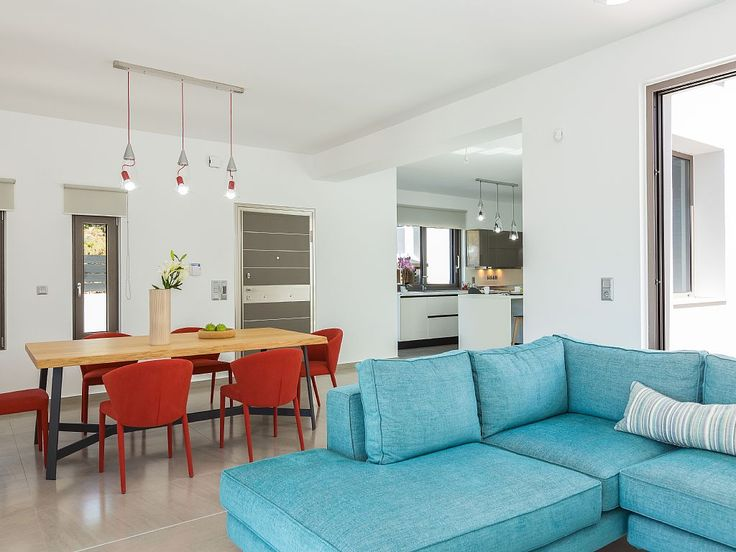 Rethymno villa rental - The living room area offers direct access to the pool and terrace!