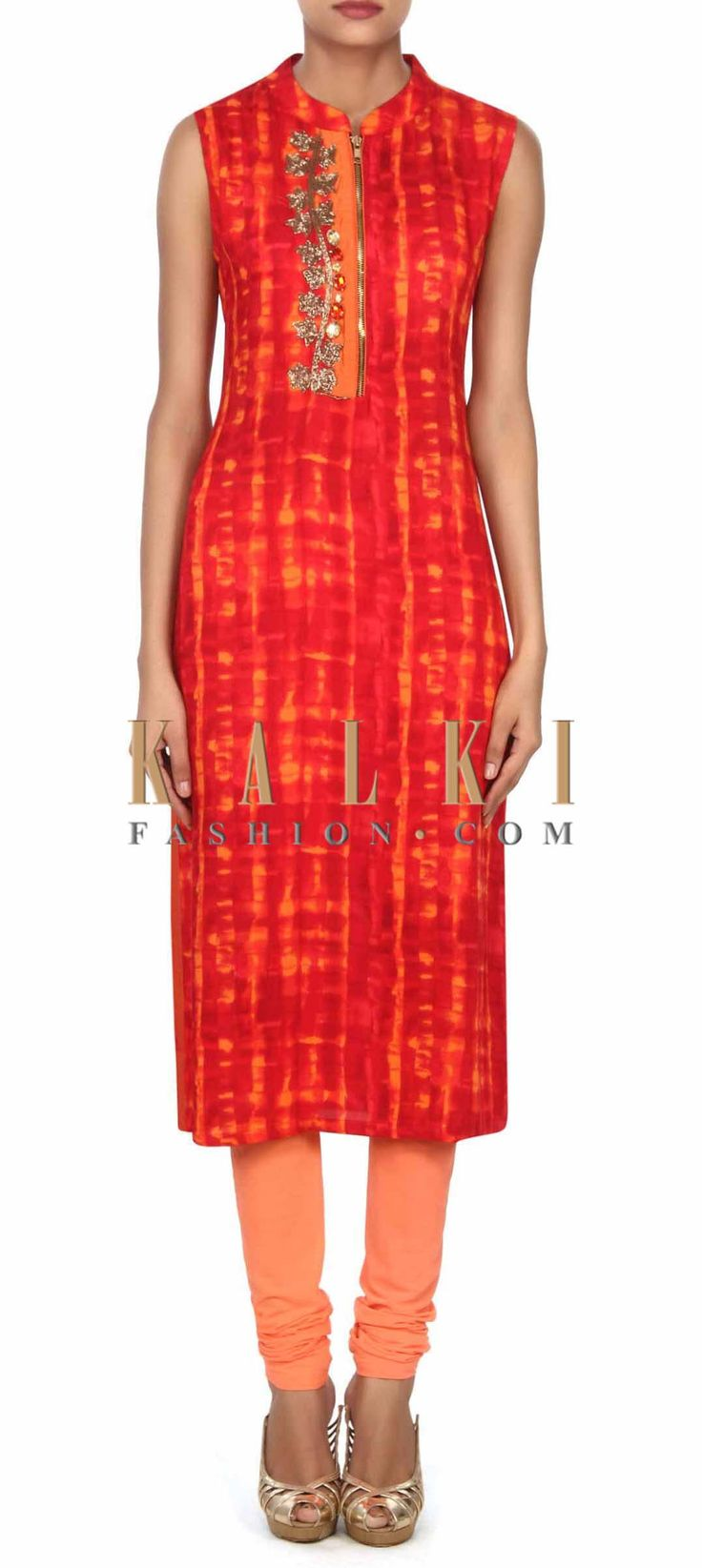 Buy this Red and peach shaded kurti enhanced in zardosi and stone only on Kalki
