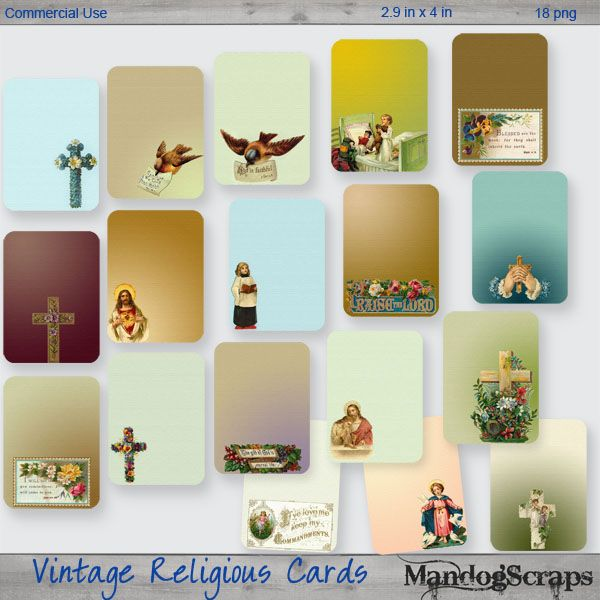 Vintage Religious Tags-Cards