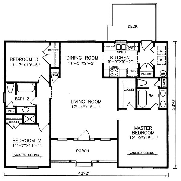 Clean Open Floor Plan: Traditional House Plan 45377 Level One