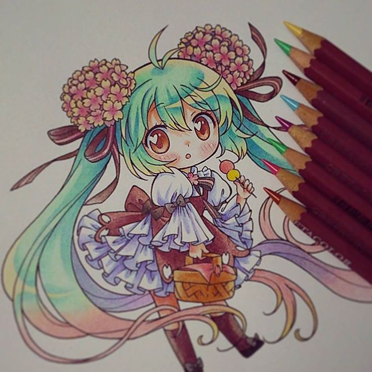 "Por fin la termine ^0^)/ ""PAINTED WITH PENCIL CRETACOLOR"" #hatsunemiku…"