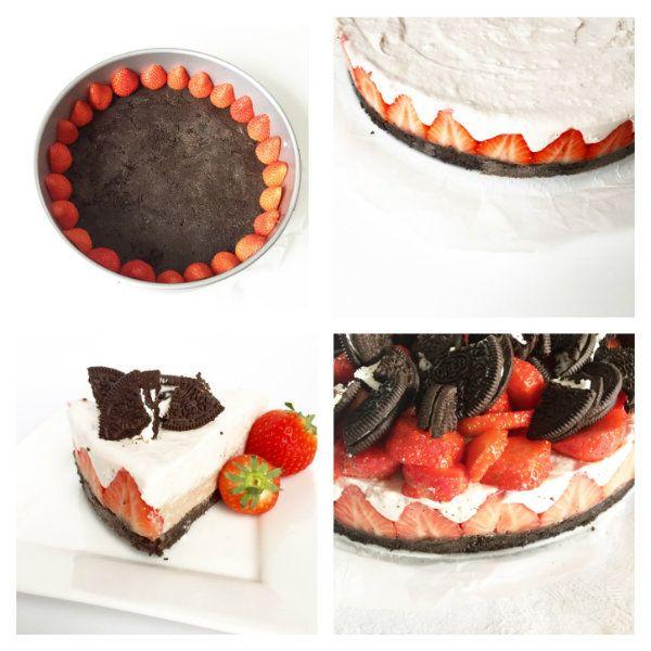 Heerlijke taart, omdat het kan. Af en toe moeten wij fitte mensen toch ook genieten van een lekkere taart met aardbeien, oreo, etc, etc?