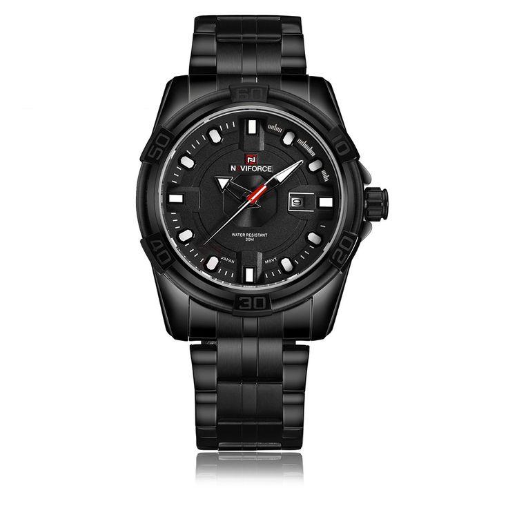 Naviforce 9079 Date Display Stainless Steel Quartz Watch for Men