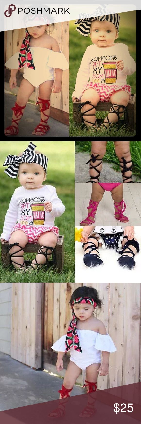 SALE🎉Boho gladiator sandals Adorable new gladiator sandals! 😝💕 These are the cutest pink boho sandals! Size 6-12 months, soft rubber soles, and ties with soft cotton for a comfortable fit!🎉😍 Check out my other listing for other cutie boho lols! Bundle and save! 😉👍🏻 Shoes