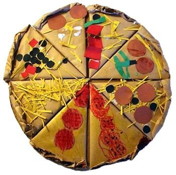 I just love kid art! Using Brown Paper Bags to decorate and also form the crust? Pizza Week