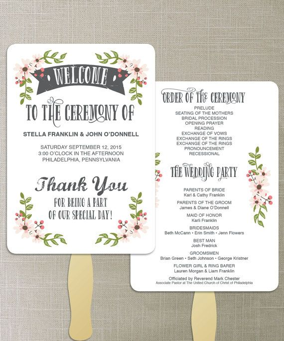 Instant Download - DIY Printable Wedding Fan Programs - Wedding Program - Editable Wedding Program - DIY Program