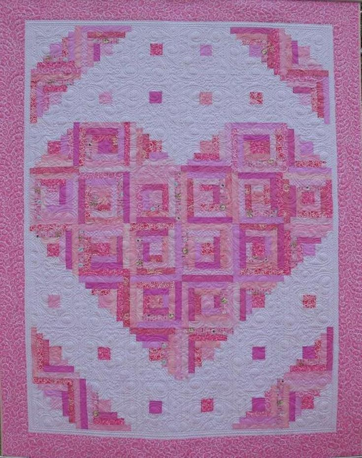Log Cabin Heart Quilt Block Pattern : 25+ unique Pink quilts ideas on Pinterest Baby quilt patterns, Quilt patterns and Beginner ...