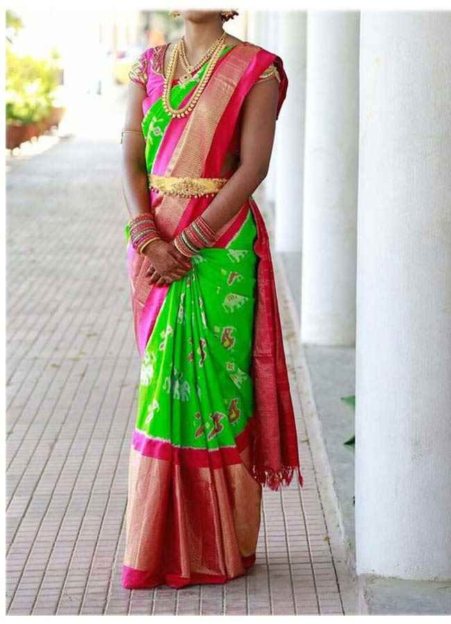 392528fb44a5de Ikkat Kanchi Border Parrot Green Color Body Pinc Color Border Saree.Very  Grand Looking And Bright Color Combined Saree.Free Shipping.