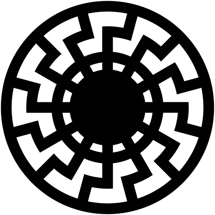 "[Sun with 12 angled rays or double-X over the Four Pillars of God? Is ""black sun"" (symbol of mythical Satan for dark magicians) just a double-X or triple-X or quadruple-X over the Four Pillars of God?.. with rays being straight or angled?] Symbol representing the Black Sun (occult symbol) - Wikipedia"
