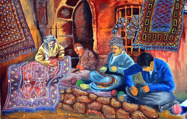 Kurdish art showing Kilim market