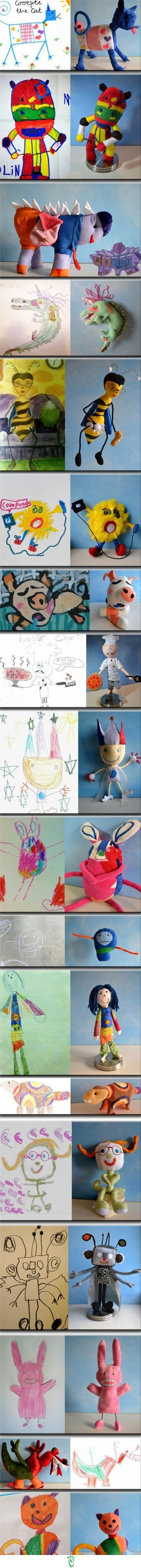 Stuffed creatures from kids drawings