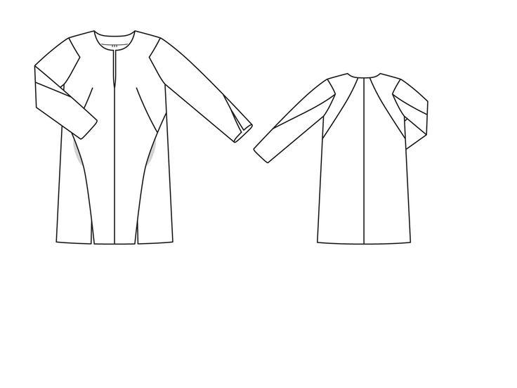 http://burdastyle.ru/modeli/platya-tuniki-kombinezony/burda-2015-2-129/ Геометричный крой этого платья с глубоким разрезом у горловины, небольшими разрезами на рукавах и по нижнему краю идеально подходит для броского жаккардового узора. В рельефных швах переда спрятаны карманы.