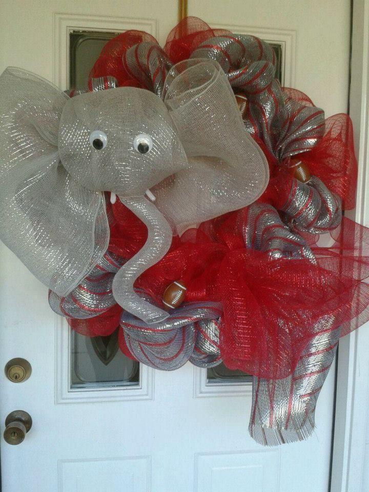 alabama wreath by denise milo of d loops wreaths roll tide elephant wreath deco mesh like her fb. Black Bedroom Furniture Sets. Home Design Ideas