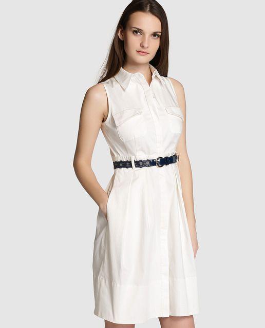 Vestido camisero de mujer Roberto Verino en blanco