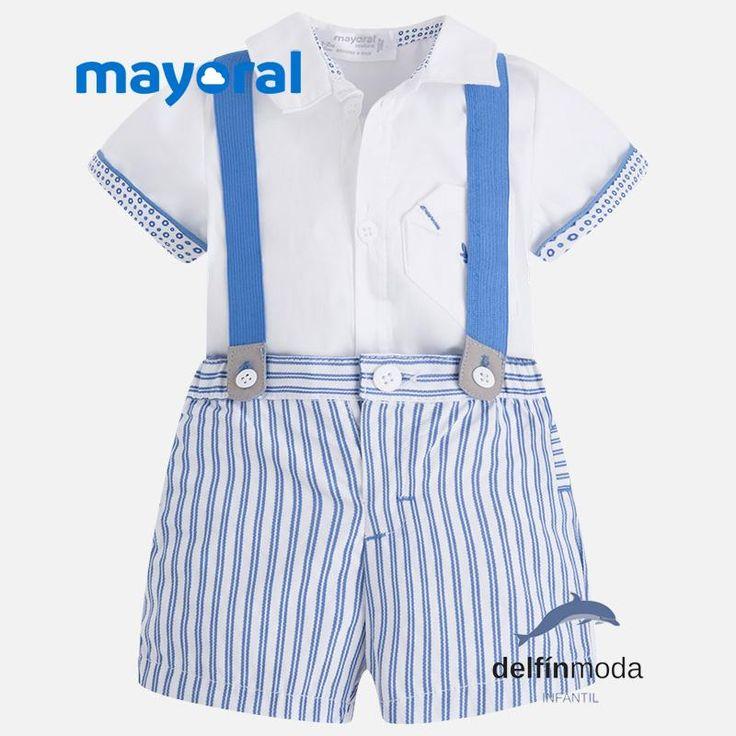 Conjunto de bebe niño MAYORAL con tirantes y camisa manga corta