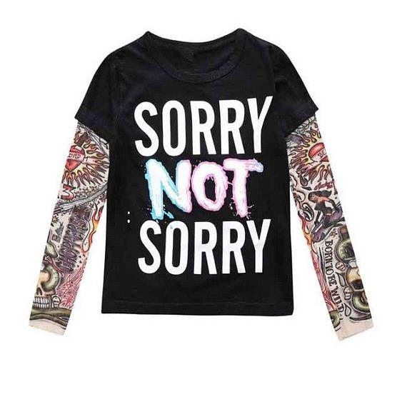 Sorry Not Sorry Kids Tattoo Sleeve Tee