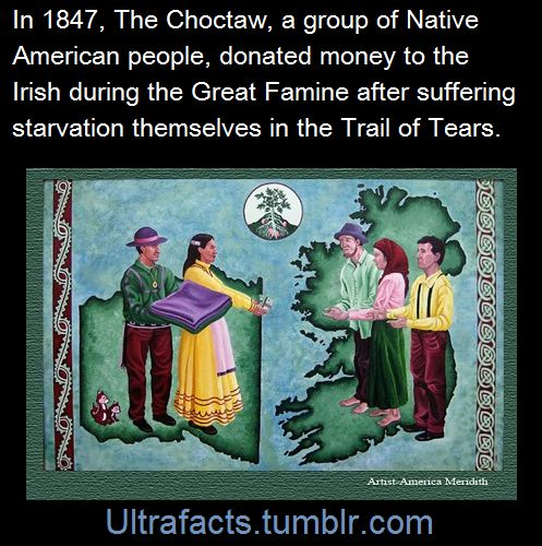 A group of Native American Choctaws in 1847 came together to raise money for the Irish people during the great famine. It had been just 16 years since the Choctaw people had experienced the Trail of...