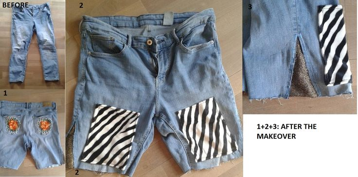 From jeans to shorts. Zebrastribed pockets in the front, lace flowers on the back pockets, gold fabric in the sides.