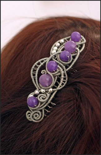 Hair comb - wrapped wire and amethysts - Wedding-Bridal-hair ornament. $33.00, via Etsy.