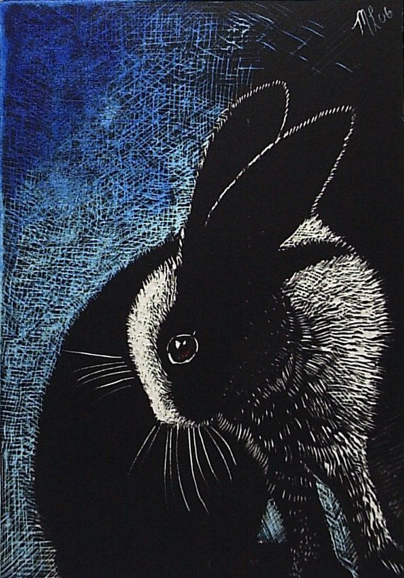 Scratch-board Bunny Rabbit Miniature Art by Melody Lea Lamb ACEO Black and White on Etsy, $6.25