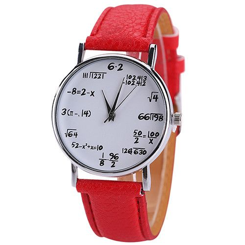 2016 New Women's Men's Fashion Math Formula Equation Dial Faux Leather Quartz Wrist Watch #CLICK! #clothing, #shoes, #jewelry, #women, #men