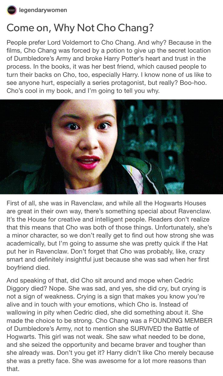 Why Not Cho Chang? part 1/2 // cho chang, Harry Potter, hp, Marietta edgecombe