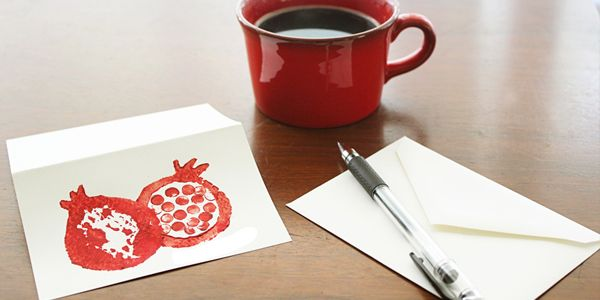 DIY Happy Rosh Hashanah Cards  (make with potato stamps and erasers; a good craft for when my daughter is older)