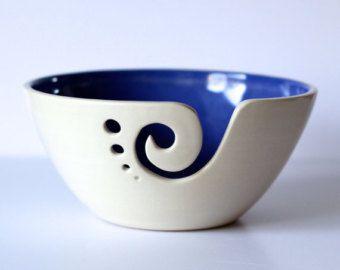 Blue Ceramic Yarn Bowl, Knitting Bowl, Crochet Bowl, Blue and White Yarn Bowl, Made to Order