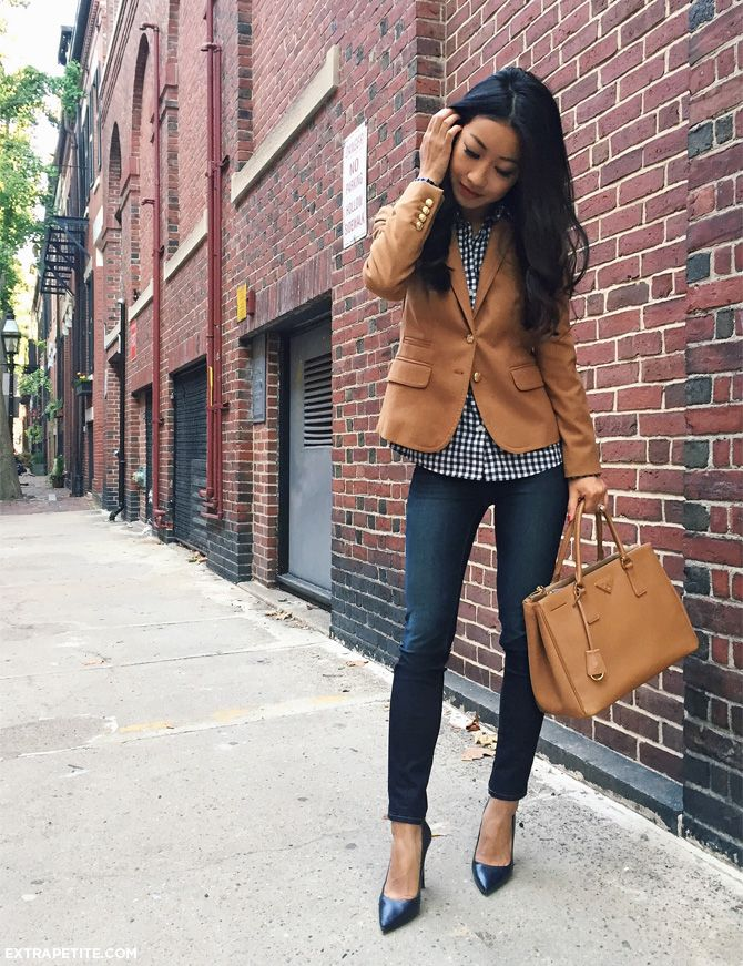 Jean Wang dresses up simple denim jeans by adding heels and a cute brown blazer. This look is casual and stylish, perfect for an every day fall style!  Blazer: J.Crew, Shirt: Brew, Jeans: J. Brand.