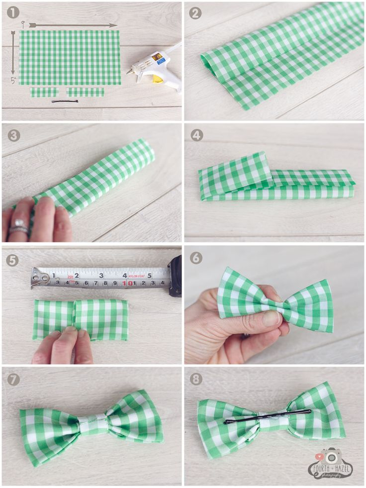DIY No Sew Bow Tie step by step. love that they use a hair pin to attach it - so inexpensive