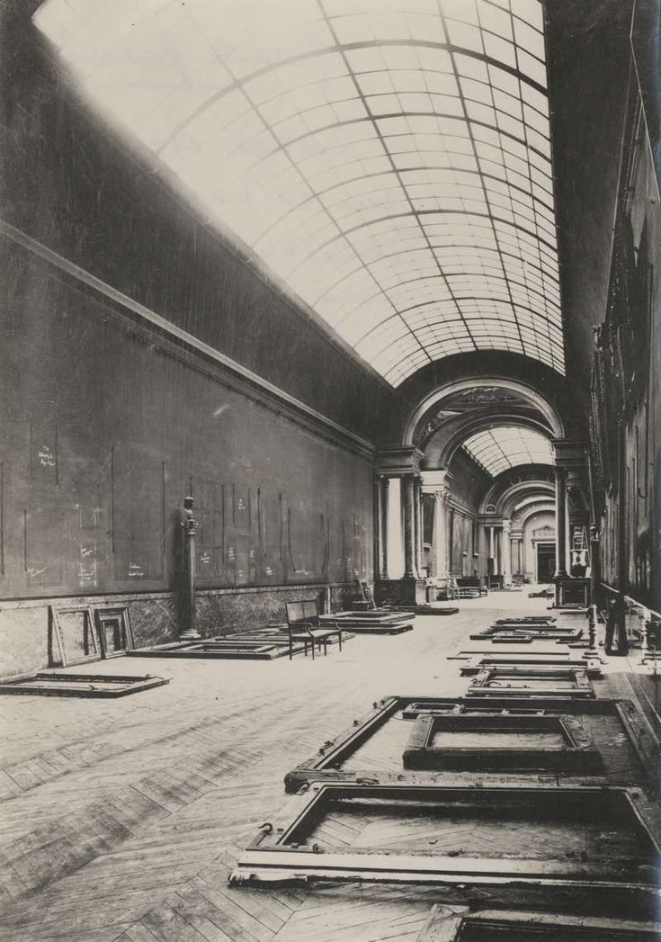 Louvre Museum. The Grande Galerie abandoned during World War II.