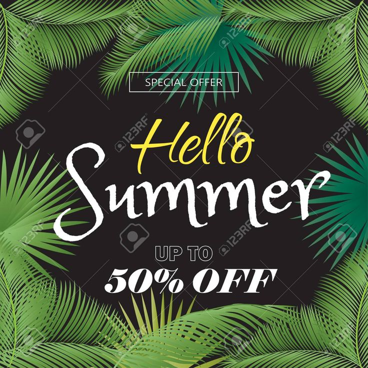 Hello Summer. Sale discount, special offer gift card, voucher, poster, placard vector template. Tropical floral frame. Stock Vector - 79568223