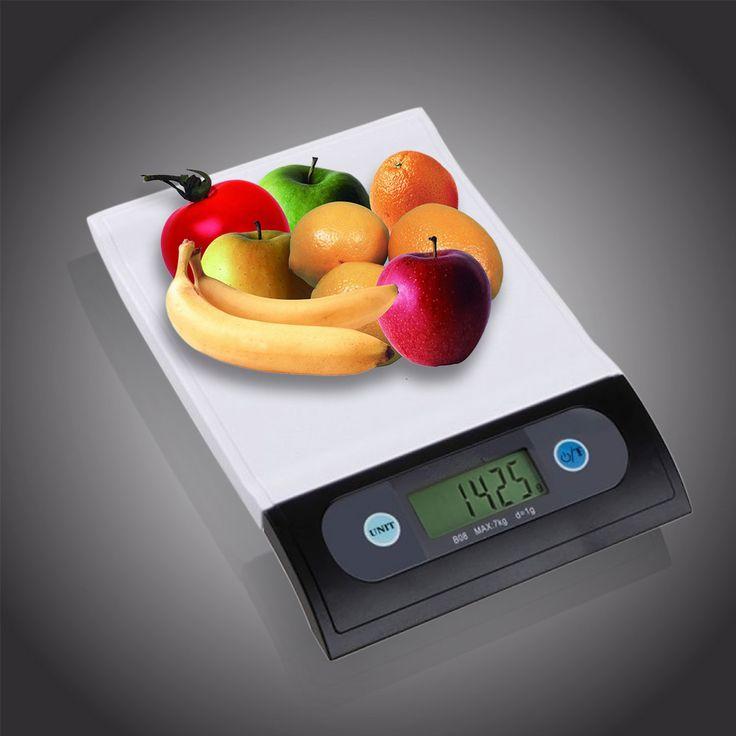 7kg/1g Portable Digital LCD Electronic Food Kitchen Weighing Platform Scale White   Black