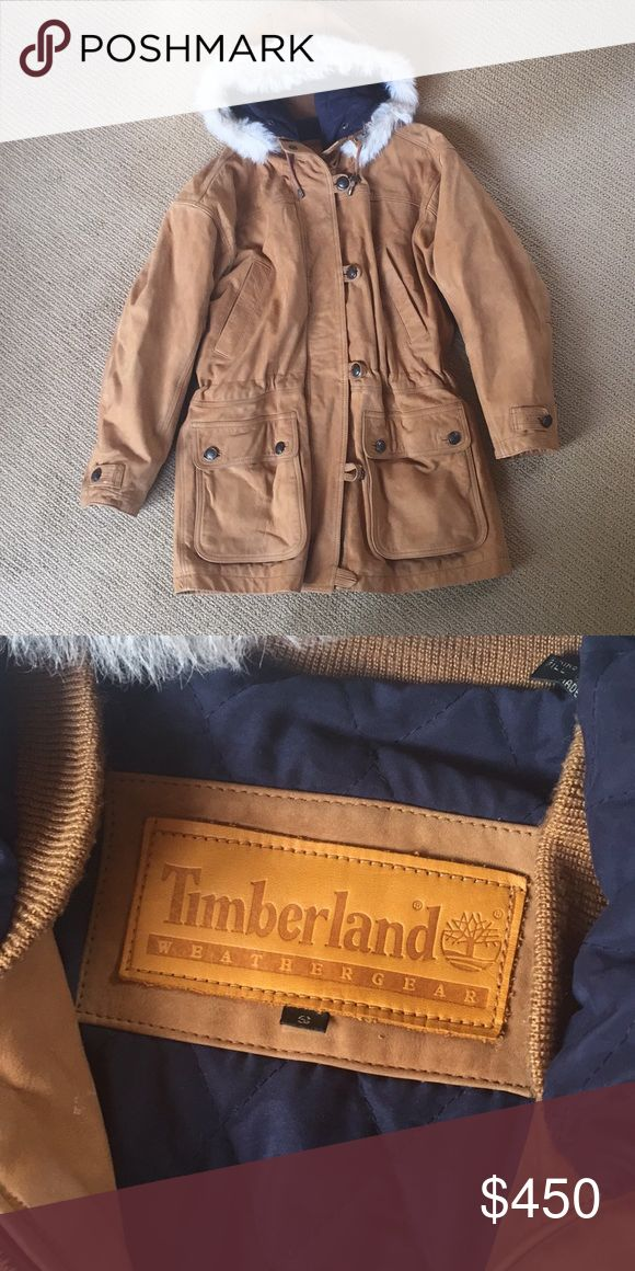 TIMBERLAND leather jacket with fur trimmed hood Warm and cozy tan TIMBERLAND jacket with fur trimmed hood - fur is detachable - jacket fastens with zipper and buttons - pockets are secure as they button too Timberland Jackets & Coats