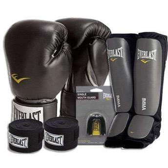 Kit Boxe Muay Thai Everlast Preto Com Protetor Canela