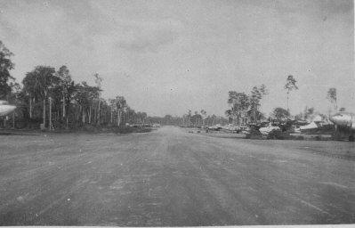 A Hardpacked Dirt Airstrip  It is believed that the surrender took place at this joint Australian/American airfield on the island of Morotai.
