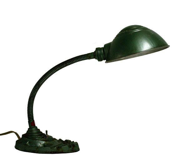 Art Deco Gooseneck Table Lamp By Erpe 1930s Art Deco Work Light Vintage Metal Desk Lamp Green Art Deco Table Lamp Antique Desk Lamp
