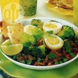Foto recept: Eieren met erwten en linzen