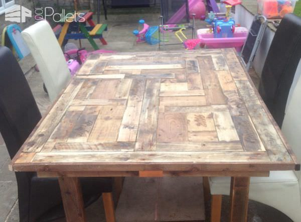 #Garden, #Mosaic, #PalletTable, #RecyclingWoodPallets This Mosaic Top Pallet Table was built as an outdoor table, but it is beautiful enough to take center stage in any formal dining room!  How I built this Mosaic Top Pallet Table: I used old pallets to create mosaic top; it was tricky and took