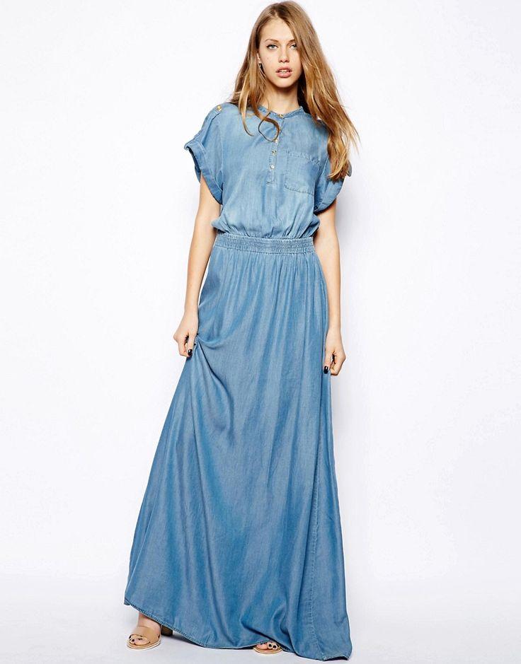 Denim Maxi Dresseses   Dresscab