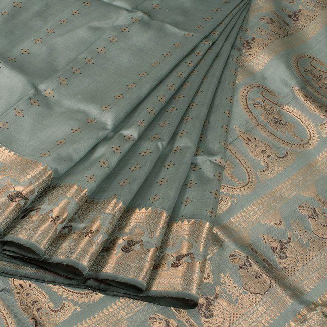Handwoven Grey Swarnachari Fine Silk & Fine Zari Saree With Dancing Doll Motifs 10015953 - AVISHYA.COM