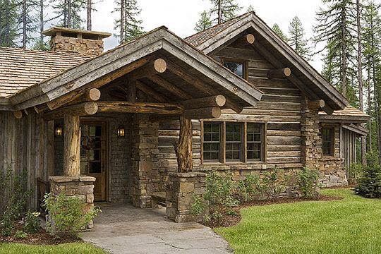 Rustic rustic cabins and cabin on pinterest for Log cabin home builders in texas
