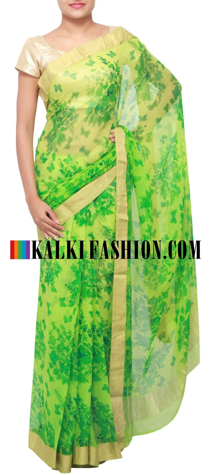 Get this beautiful saree here: http://www.kalkifashion.com/green-printed-saree-with-gold-shimmer-border-only-on-kalki.html Free shipping worldwide.